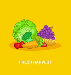 Fresh harvest concept cartoon style vector