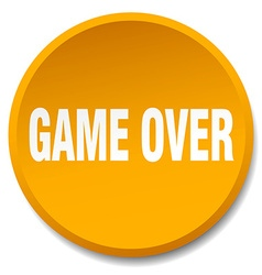 Game over orange round flat isolated push button vector