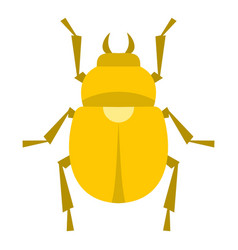 Gold scarab beetle icon isolated vector