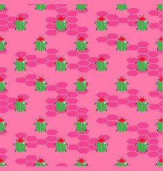 green beetle on bright pink seamless vector image