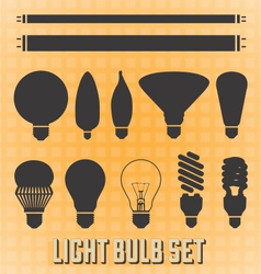 Light bulb silhouettes vector