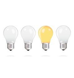Light bulbs with one bright light bulb vector image