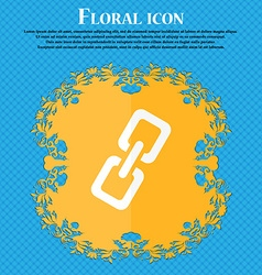 link icon Floral flat design on a blue abstract vector image vector image
