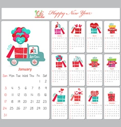 Love calendar for 2016 with gifts vector