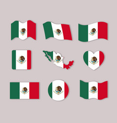 Mexico flags collection colorful silhouettes in vector
