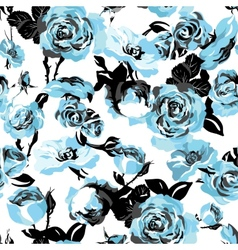 Monochrome Seamless Pattern with Vintage Roses vector image