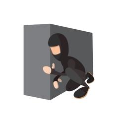 Ninja hiding the wall icon vector