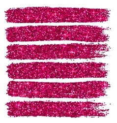 Pink glitter brushstrokes set isolated at white vector