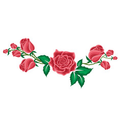 Red rose and buds of roses in cartoon style vector