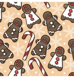Seamless gingerbread and snoflakes vector image