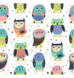 seamless pattern with cartoon owls baby vector image vector image