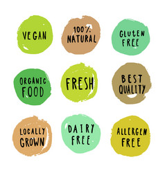 set of food badges vegan gluten etc vector image vector image