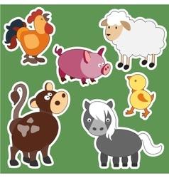 Set of isolated farm animals vector