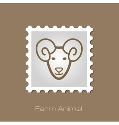Sheep stamp animal head vector