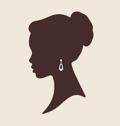 silhouette of beautiful elegant african woman in vector image