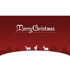 Silhouette of deer on the hill christmas landscape vector