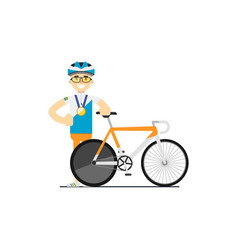 Smiling bicyclist with race road bike vector