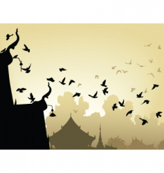 temple pigeons vector image vector image