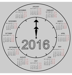 watch dial calendar 2016 new year vector image