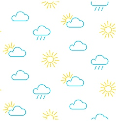 Weather sun clouds rain clouds seamless pattern vector