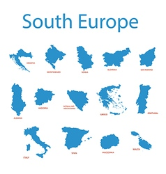 South europe - maps of territories vector