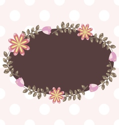 Cute oval frame with floral element vector