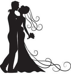 kissing groom and bride vector image