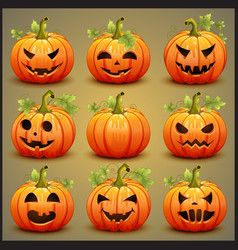 Big set of pumpkins for halloween vector