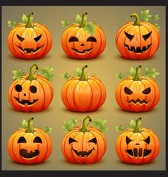 Big set of pumpkins for halloween vector