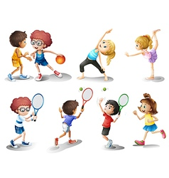 Kids exercising and playing different sports vector image