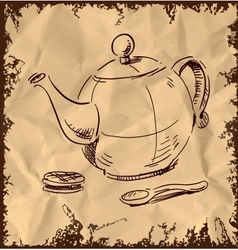 Kettle spoon and biscuit on vintage background vector image