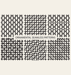Collection of grid seamless patterns vector