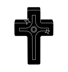 Golden cross easter single icon in black style vector