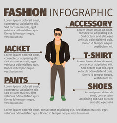 fashion infographic with man in jacket vector image