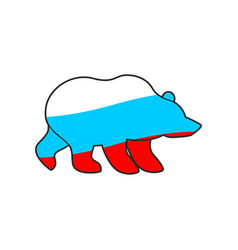Bear russia flag emblem national traditional vector