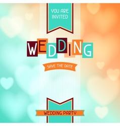 Wedding invitation card in retro style vector