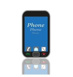 Mobile phone with blue screen on an isolated vector