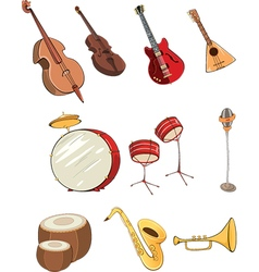 Set of cartoon musical instrumen vector