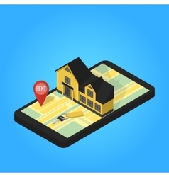 Real estate online searching isometric flat vector