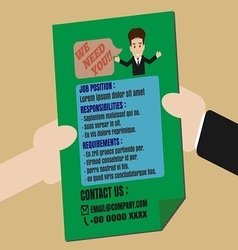 Job finder advertisement on leaflet vector