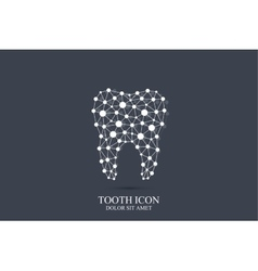 Tooth template icon with connected lines vector
