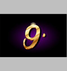 9 nine number numeral digit golden 3d logo icon vector image