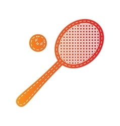 Tennis racquet sign orange applique isolated vector