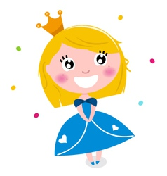 Cute little cartoon princess isolated on white vector