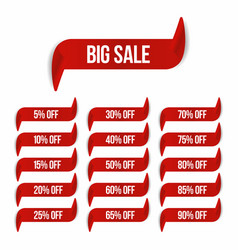 big sale banner in ribbon form sale labels vector image