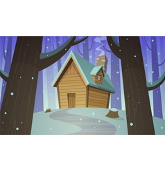 Cabin in woods - winter vector