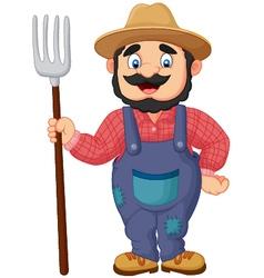 Cartoon farmer holding a rake vector image vector image