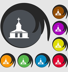 Church icon sign symbols on eight colored buttons vector