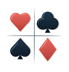 Colorful playing cards symbols set on white vector