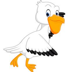 cute pelican cartoon vector image vector image